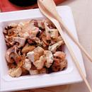 豆腐と鶏肉のバターしょうゆ炒め