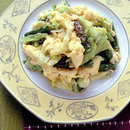キャベツとアスパラの卵炒め