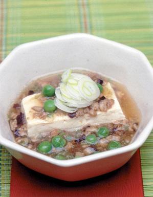 ゆで豆腐のひき肉あんかけ