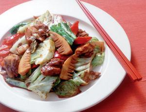 春野菜と鶏肉のみそ炒め