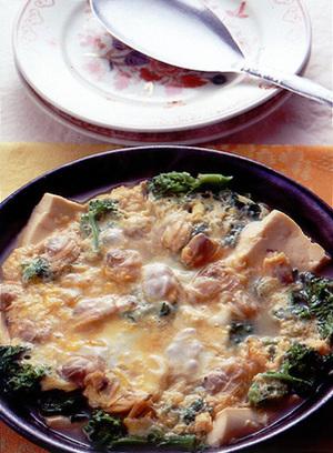 豆腐とあさりの卵とじ