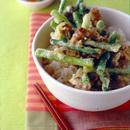 にんにくの茎と豚肉のかき揚げ丼