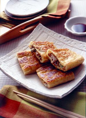 豚肉とザーサイのきつね焼き