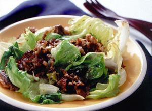 牛肉とレタスの中華風炒め