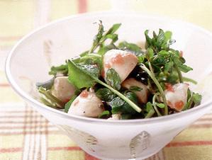 マッシュルームとクレソンの梅風味サラダ