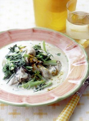 かきと小松菜のクリーム煮
