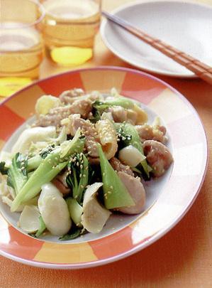 青梗菜と鶏肉の中華風炒め