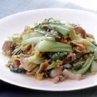 青梗菜と豚こまの漬けもの炒め