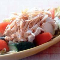 豆腐と野菜のホットドレッシングサラダ