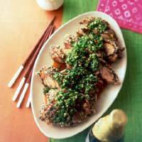 ごま風味揚げ鶏のピリ辛ねぎソース