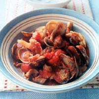 あさりと豚肉のトマト煮