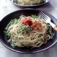 納豆とオクラの和風スパゲティ