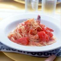 フレッシュトマトとえびのスパゲティ