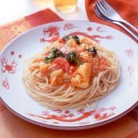 卵と帆立てのチリソーススパゲティ