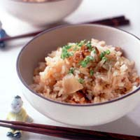 キムチとひき肉の炊き込みご飯