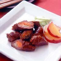 野菜巻き牛肉の中華風照り焼き
