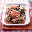 鮭と青梗菜のチリソース炒め