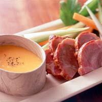 焼き豚と野菜の黄身マヨソース