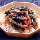 小松菜と豚肉の中華丼