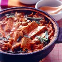 焼き豆腐とあさりのチゲ風