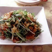 水菜と豚肉のおかずサラダ