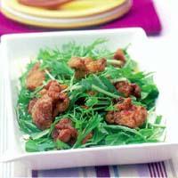 水菜とチキンのおかずサラダ