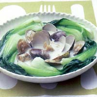 青梗菜とはまぐりのミルク煮
