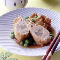 うどと鶏ひき肉の袋煮