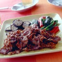カリカリ豚と夏野菜の塩焼き