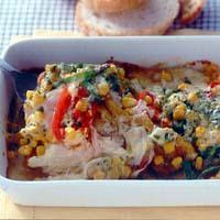 豚肉と夏野菜のカレーチーズ焼き