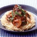 白菜キムチ+にら+牛こま切れ肉の冷やし中華