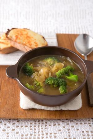 ブロッコリーのオニオングラタン風スープ
