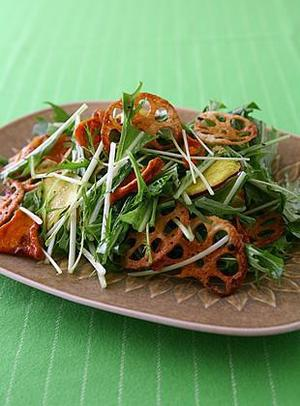 揚げ根菜と水菜のサラダ