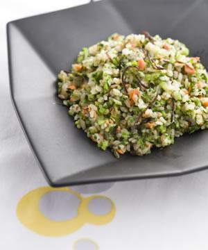 鮭と小松菜の塩昆布マヨチャーハン