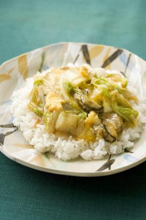 白菜とかきの卵とじご飯