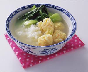 えびだんごと青梗菜のスープご飯