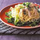 鶏肉とレタスのゆずマヨスパゲティ