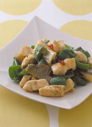 鶏肉とザー菜、ピーマンの中華炒め