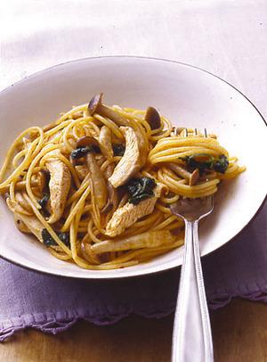 鶏肉としめじのナポリタン風スパゲティ