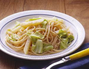 じゃがいもとキャベツの明太子スパゲティ