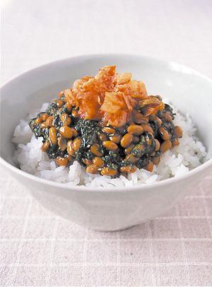 モロヘイヤ入り納豆キムチ丼