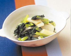 小松菜とかまぼこの辛子あえ