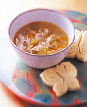 鶏肉とねぎの中華風スープ