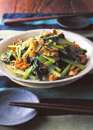 小松菜と豚肉の中華風みそ炒め