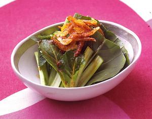 小松菜と桜えびのピリ辛サラダ