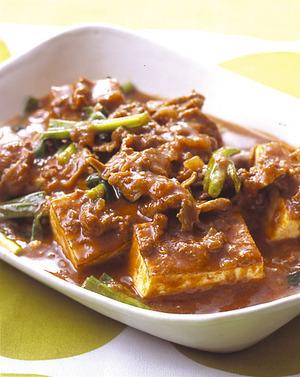 豆腐と牛肉の甘辛煮