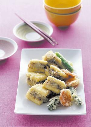豆腐のひき肉はさみ天ぷら