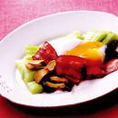 青梗菜のソテー 温泉卵のせ