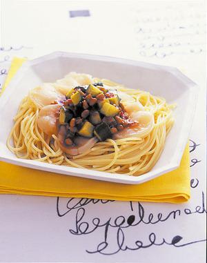 帆立ての梅納豆スパゲティ