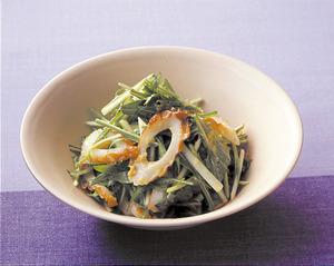 水菜とちくわのわさび酢みそあえ